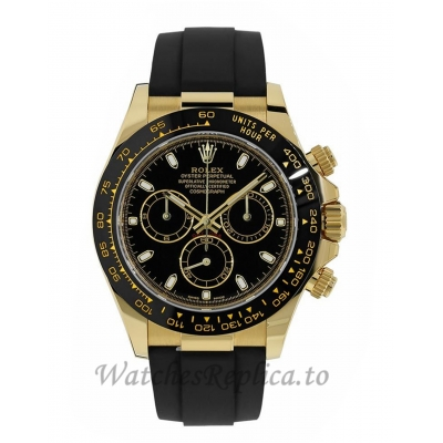Rolex Replica Cosmograph Daytona Yellow Gold Oysterflex Bracelet 40MM Watch 116518LN