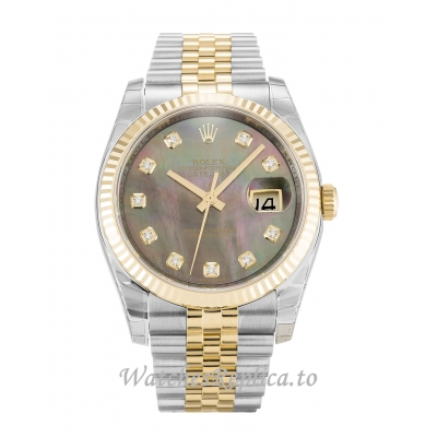 Rolex Datejust Mother of Pearl   Black  Diamond Dial 116233 36MM
