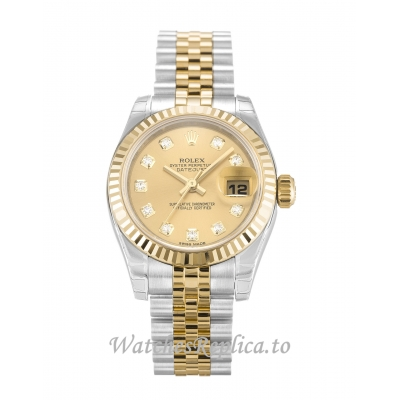 Rolex Datejust Lady Champagne Diamond Dial 179173 26MM