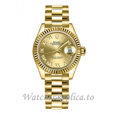 Fake Rolex Lady-Datejust 279178-0022 Champagne Dial Women's Watch 28MM