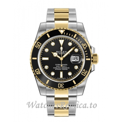 Rolex Submariner Replica 116613LN-0003 Men's Black Diamond Dial Watch 40MM