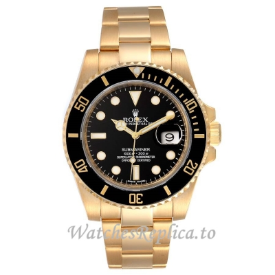 Replica Rolex Submariner Black Dial Yellow Gold 116618 40MM