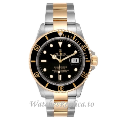 Replica Rolex Submariner Watch Black Dial 16613 41MM