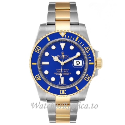 Replica Rolex Submariner Yellow Gold Blue Dial 116613 40MM