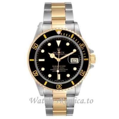 Rolex Replica Submariner Yellow Gold Black Dial 16803 40MM