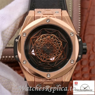 Swiss Hublot Big Bang Sang Bleu King Gold Replica 415.OX.1118.VR.MXM17 Black Strap 45MM