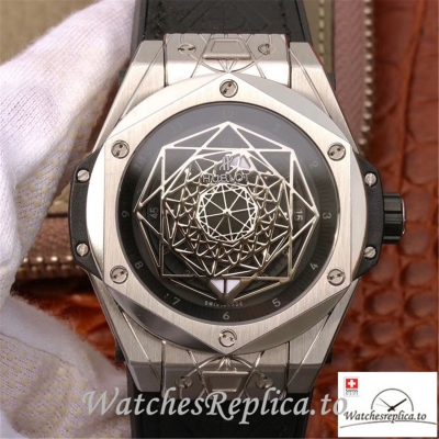 Swiss Hublot Big Bang Sang Bleu Titanium Replica 415.NX.1112.VR.MXM16 Black Strap 45MM
