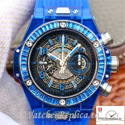 Swiss Hublot Big Bang Unico Replica 411.JX.4802.RT 001 Blue Transparent Strap 45MM