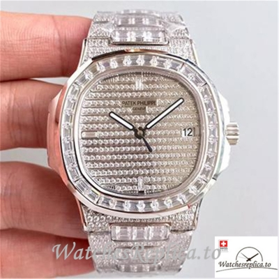 Swiss Patek Philippe Nautilus Jumbo Replica 5719/1G-001 002 Diamonds Strap 40MM