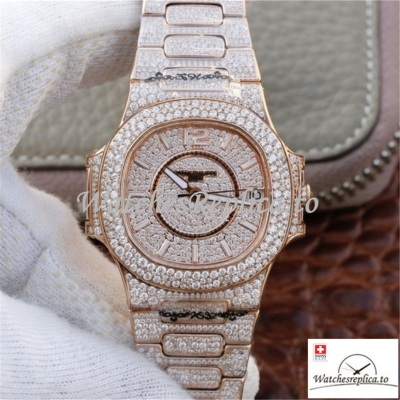 Swiss Patek Philippe Nautilus Jumbo Replica 7021/1R-001 Diamonds Strap 40MM
