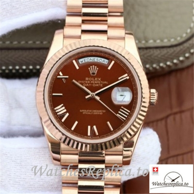 Swiss Rolex Day Date Replica 228235 004 Rose Gold Strap 40MM