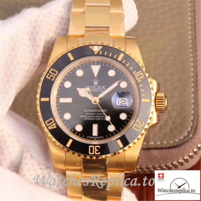 Swiss Rolex Submariner Date Replica 116618LN Gold Strap 40MM