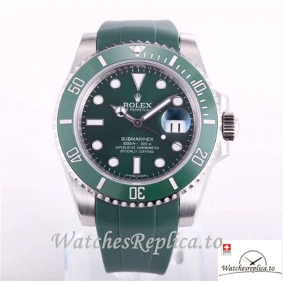 Swiss Rolex Submariner Replica 116610LV 002 Green Rubber Strap 40MM