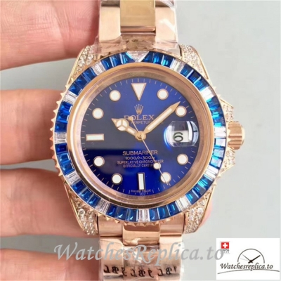 Swiss Rolex Submariner Replica 116618LB 001 Diamonds Bezel 40MM