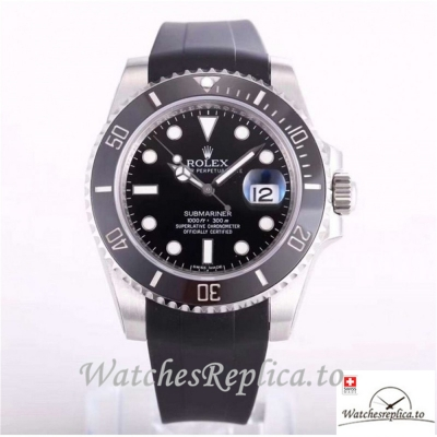 Swiss Rolex Submariner Date Replica 116610LN 002 Black Rubber Strap 40MM