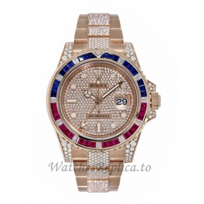 Rolex GMT-Master IIRose Gold Diamond Pepsi Bezel 40MM Watch 126755SARU