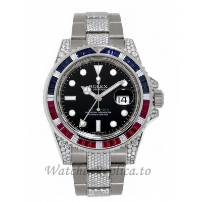 Rolex Replica GMT-Master IIWhite Gold Gem Set Bezel 40MM Watch 116759SARU