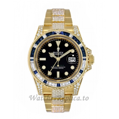 Rolex Replica GMT-Master IIYellow Gold Sapphire and Diamond Bezel 40MM Watch 116758SA