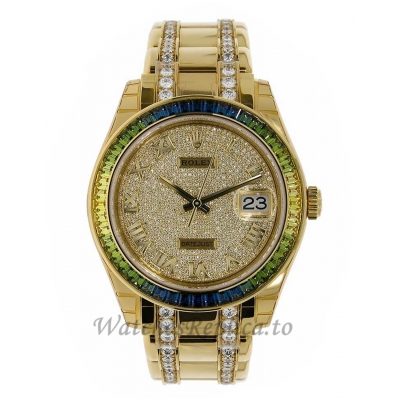 Rolex Replica Pearlmaster Datejust Yellow Gold Fancy Green Diamond Pave Dial 39MM Watch 86348SABLV