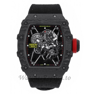 Richard Mille Replica RM35-01 Rafael Nadal Signature Black Carbon 50MM Watch RM35-01 16336
