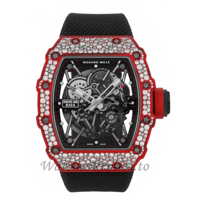 Richard Mille Replica RM35-02 Rafael Nadal Diamond Red Quartz TPT 49MM Watch RM35-02 69877