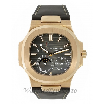 Patek Philippe Replica Nautilus Rose Gold Moon Phases Brown 40MM Watch 5712R001