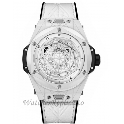 Hublot Replica Big Bang Unico Sang Bleu Ceramic White 45MM Watch 415.HX.2027.VR