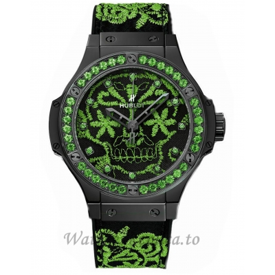 Hublot Replica Big Bang Broderie Ceramic Green 41MM Watch 343.CG.6590.NR